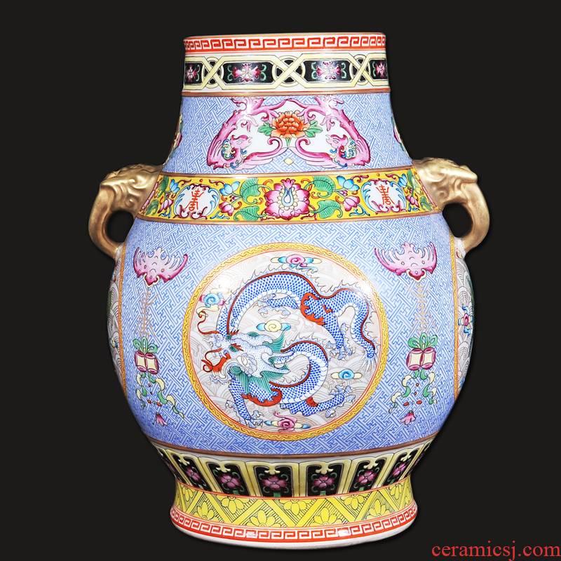 Jingdezhen ceramics antique hand - made pastel blue dragon on day deer listen drum home crafts