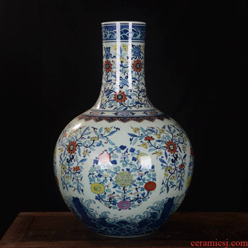 Jingdezhen ceramics high - end antique qianlong bucket colors branch lotus bottle home decoration craft furnishing articles in the living room