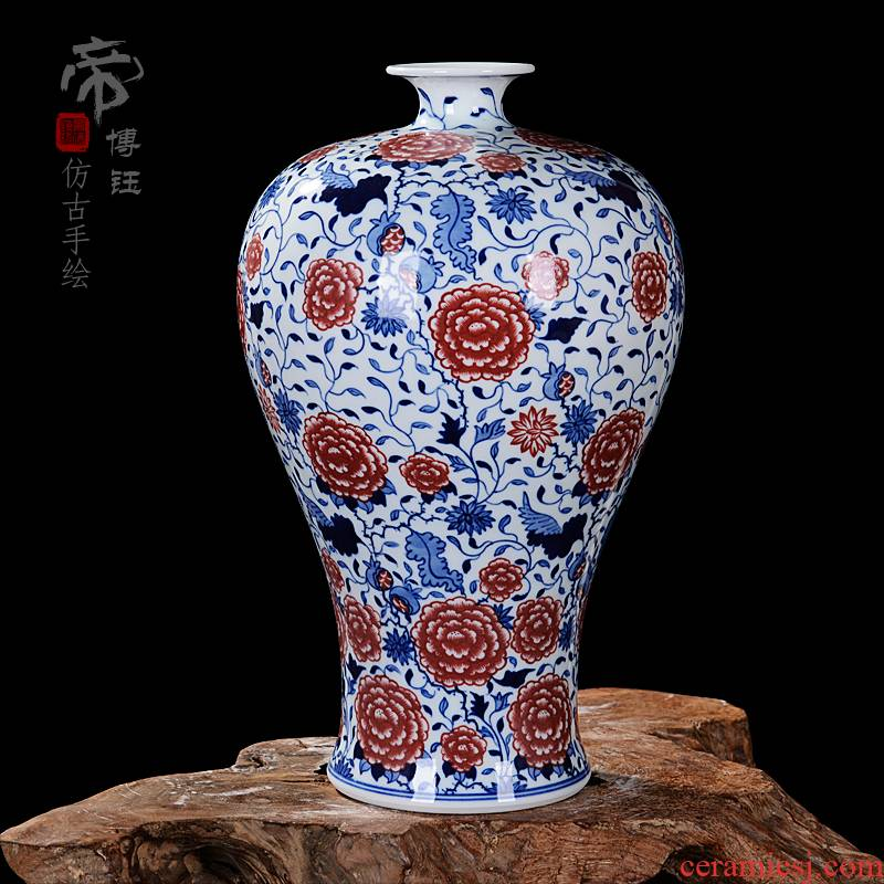 Jingdezhen ceramics antique hand - made modern blue and white porcelain vase fashionable sitting room adornment furnishing articles of handicraft