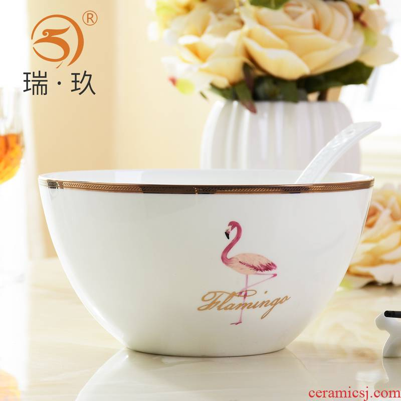 Tangshan ipads porcelain bowl bowl eight inches deep creative household ceramic bowl a single large bowl bowl of soup bowl move type