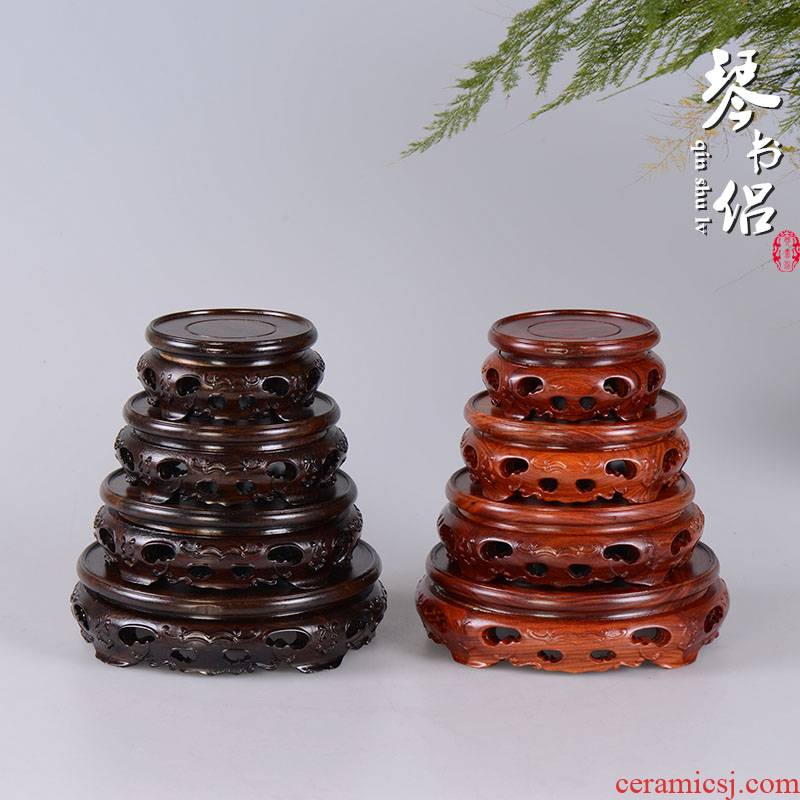 Ebony woodcarvings red wingceltis circular base solid wood antique vase base teapot tea set stone wooden shelf