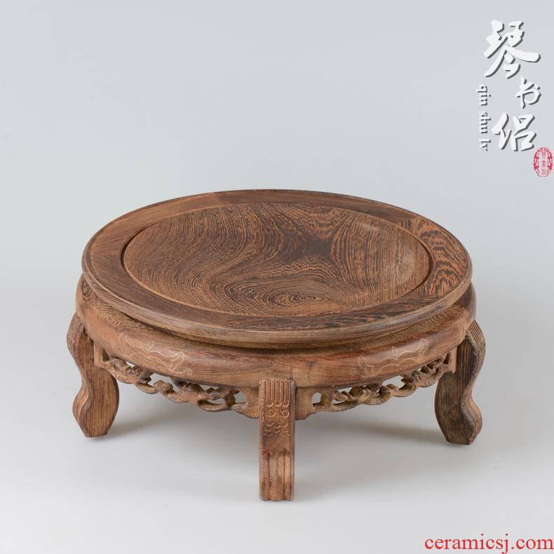 Wenge base woodcarving tank base vase miniascape air conditioning base solid wood stone Buddha base rounded