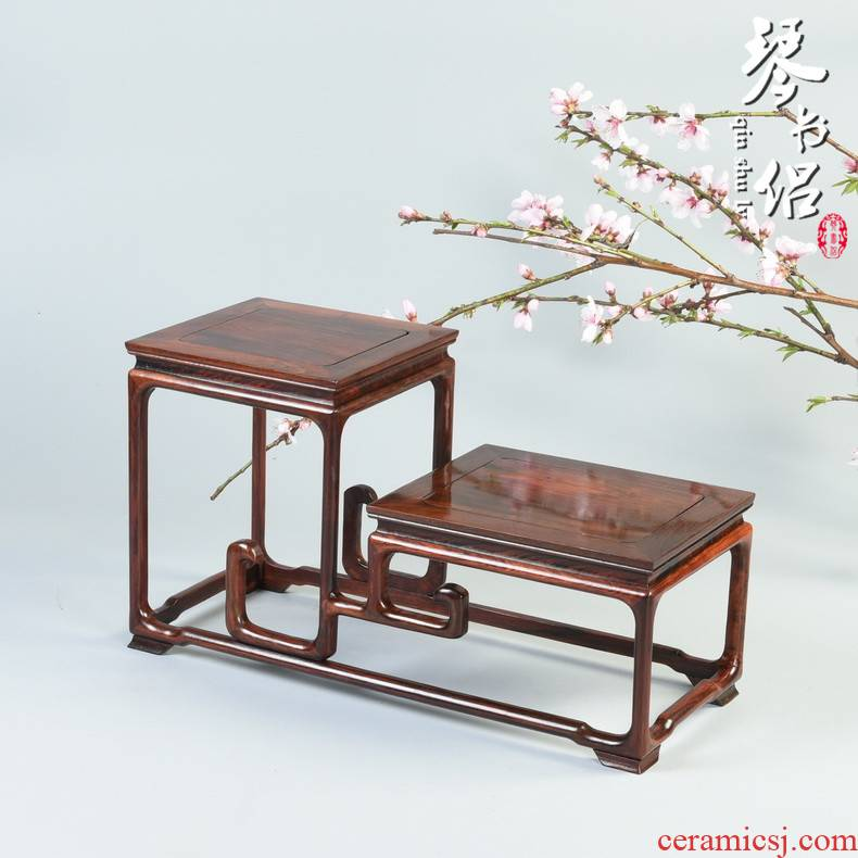 Red acid branch height of bright type rich ancient frame wood carving handicraft display dado flowers miniascape flower base