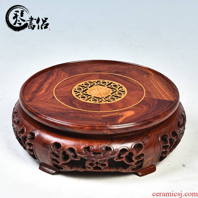 Pianology picking red sandalwood round solid wood home furnishing articles woodcarving handicraft wooden flower pot base