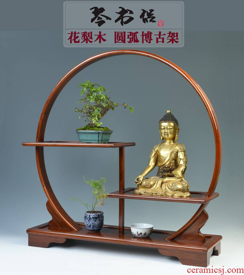 Hua limu arc rich ancient frame wood base solid wood tea set small furnishing articles rich ancient frame stupa pavilion antique wooden pallet