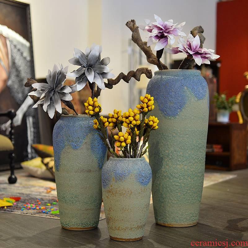 Modern European ceramic vase color glaze up landing vase sitting room hotel furnishing articles big vase entadae stem vine
