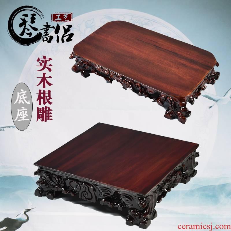 Taishan stone stone base rectangular tetragonal solid wood can be excavated base of flowerpot furnishing articles oval stone base
