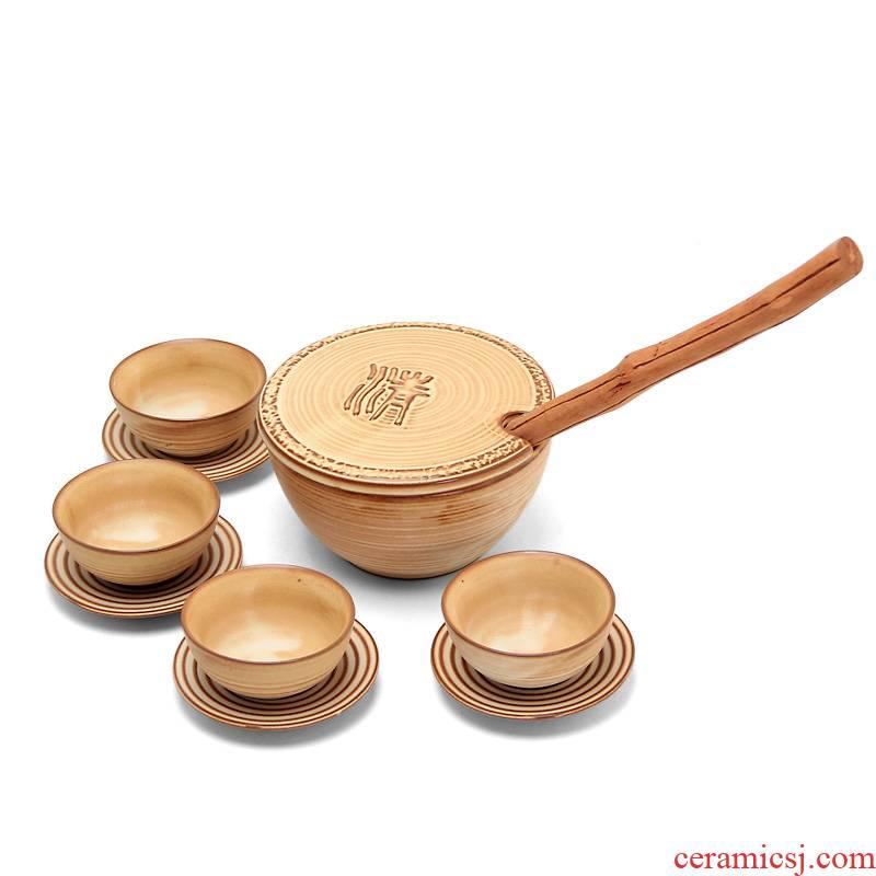 Mingyuan FengTang GuTao old rock coarse pottery mud dry mercifully kung fu tea set manually Japanese tea bowl tea spoon tea set
