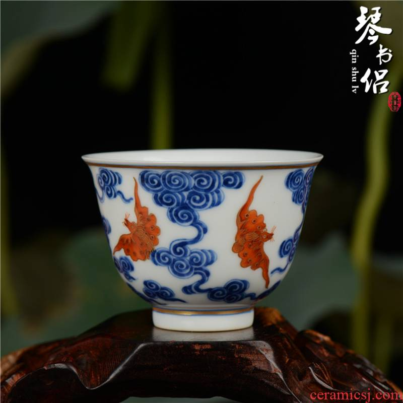 To send Pianology jingdezhen blue and white alum red antique art ceramics vase furnishing articles xuantong xiangyun fuels the cups