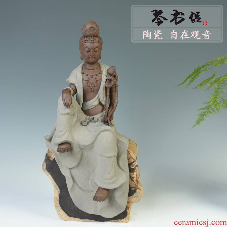 Pianology picking dehua ceramic creative home furnishing articles Chinese zen sitting room porch decoration free goddess of mercy