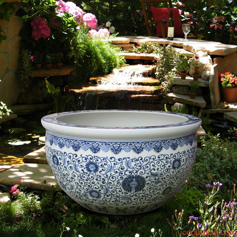 Blue and white porcelain tank 1 meter big basin of water tanks porcelain jar water lily lotus bowl lotus cylinder cylinder tortoise courtyard