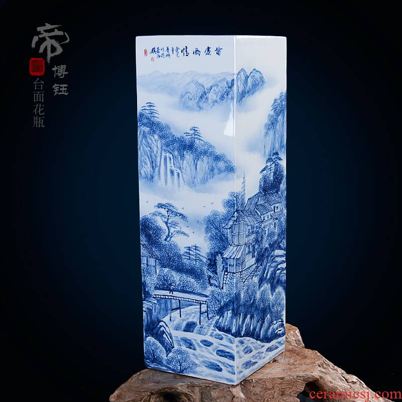 Home fashion pastel blue and white porcelain masterpieces by famous writers, hand - made vases, jingdezhen ceramics compartments, traditional Chinese painting landscape