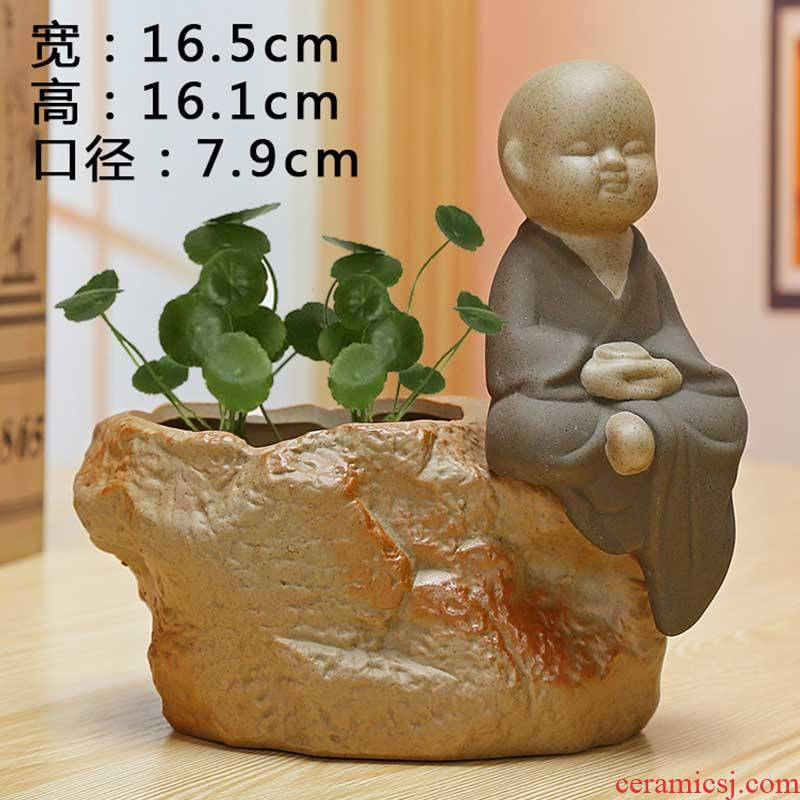 Coarse pottery zen without hole, ceramic flower implement water raise grass daffodils cooper other hydroponic plant pot monk furnishing articles