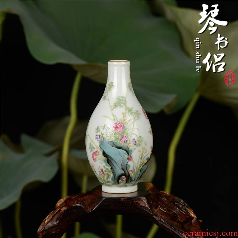 Pianology picking jingdezhen hand - made archaize furnishing articles famille rose porcelain vase flowers bamboo gall bladder gift collection