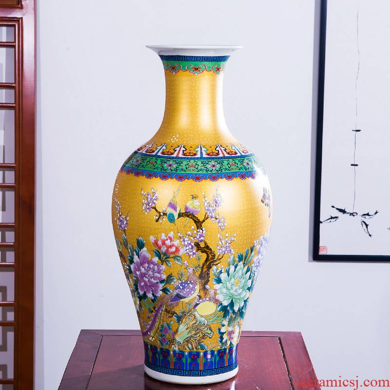HP - 076 jingdezhen ceramics of large vase furnishing articles chicken wear peony flower arrangement home sitting room adornment is placed