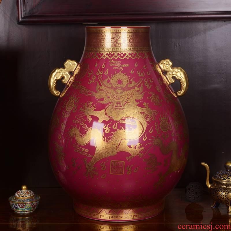 Jingdezhen ceramics vase imitation the qing qianlong coral red paint dragon f tube handicraft collection furnishing articles