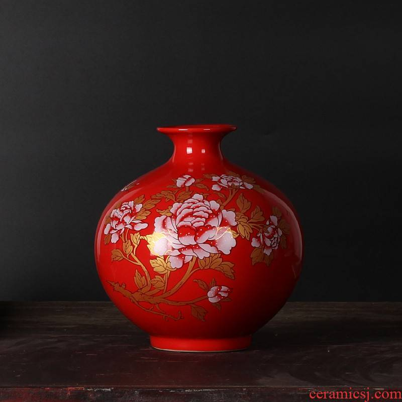 Wedding place jingdezhen ceramic Wedding festive red floret bottle decorated new red household adornment