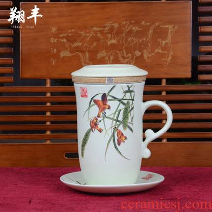 Xiang feng ceramic tea cups with cover filter glass office keller cup boss personal cup