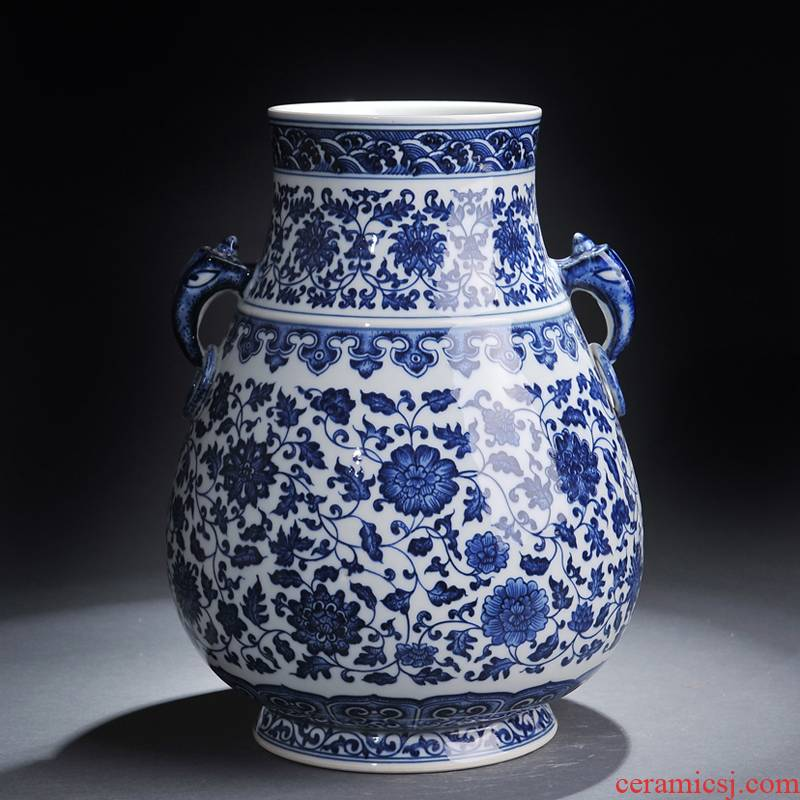 Jingdezhen blue and white ceramics bound lotus flower ear vase classical home sitting room adornment handicraft furnishing articles