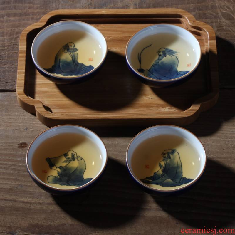 Jingdezhen dharma lohan tasting cup egg cup ocean 's blue and white hand - made ceramic tea light cup fragrance - smelling cup