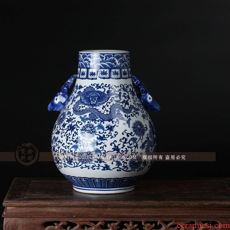 Jingdezhen ceramics under glaze blue and white porcelain vase color ears dragon cylinder household adornment is placed in the living room