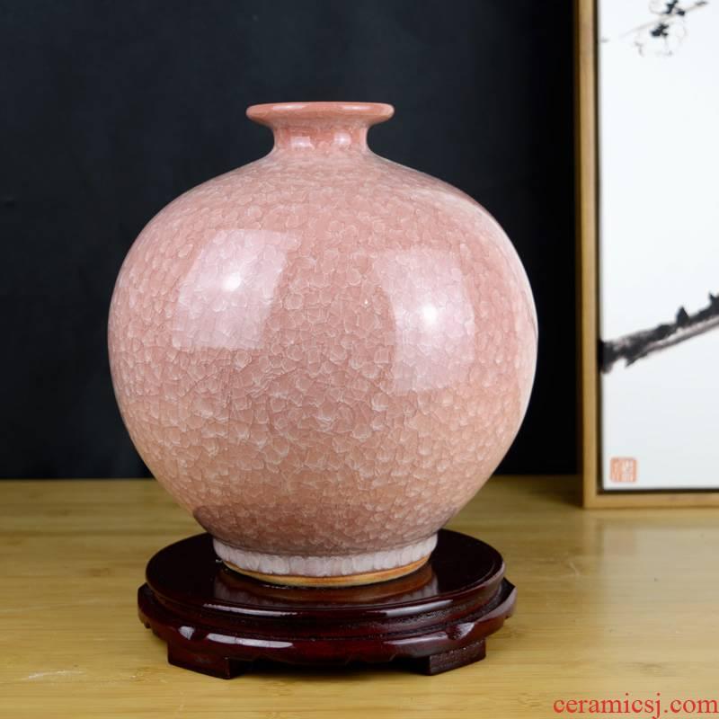 Jingdezhen ceramics flower arranging household ice crack glaze vase Chinese style restoring ancient ways the sitting room porch decoration handicraft furnishing articles