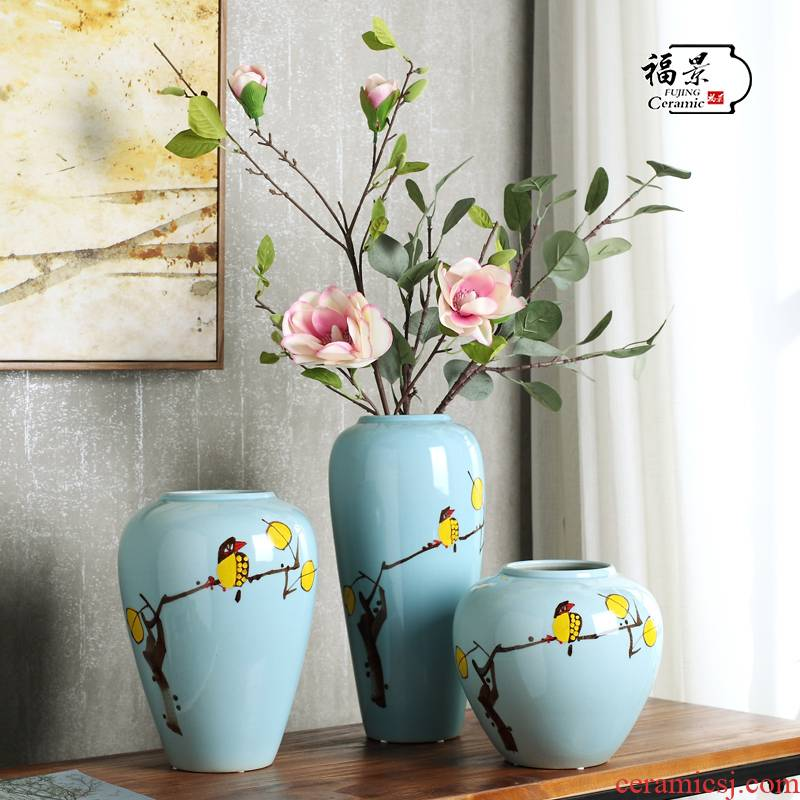 New Chinese style between modern blue flower ceramic vase three - piece example household act the role ofing is tasted decorative porcelain vase furnishing articles