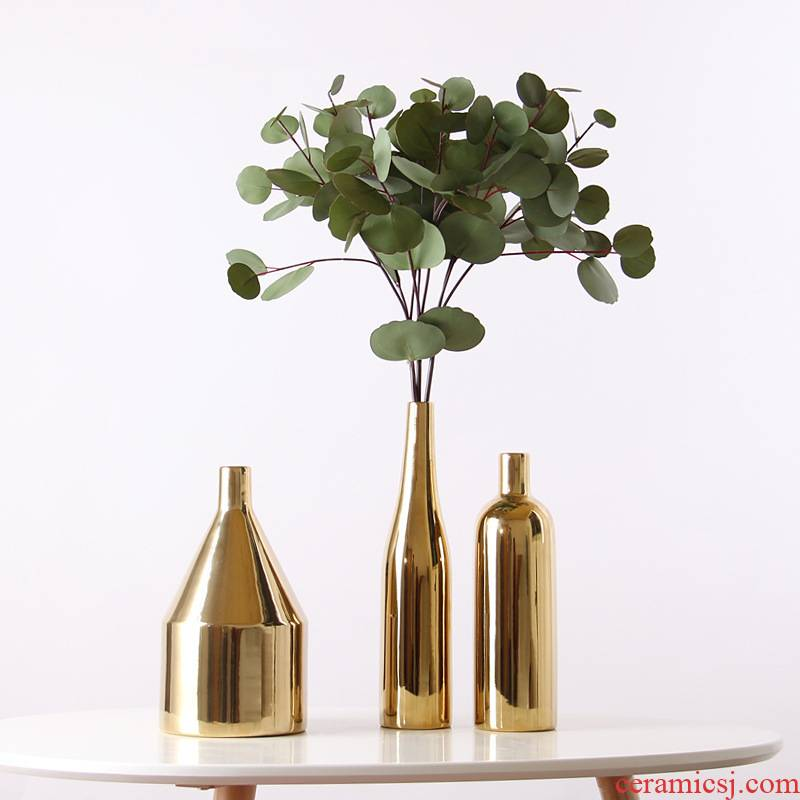 Golden idea Nordic ceramic vase household table wine I and contracted sitting room flower adornment furnishing articles