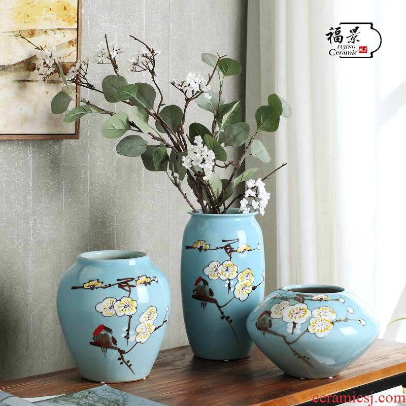 Fu jing new Chinese modern furnishing articles hand - made ceramic name plum flower vase three - piece wine cabinet decoration decoration process