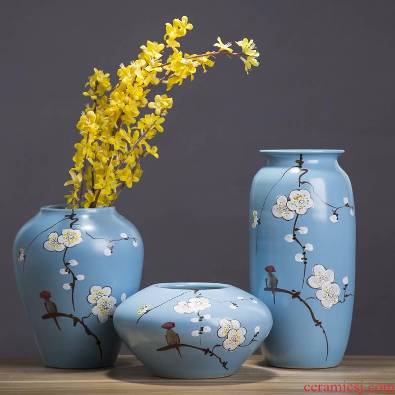 Jingdezhen ceramic modern new Chinese style flower vase living room TV wine porch home furnishing articles