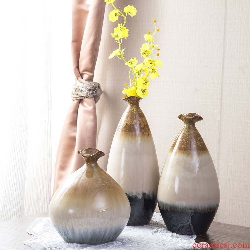 Jingdezhen ceramics up vase three - piece of new Chinese flower arranging home furnishing articles sitting room adornment handicraft