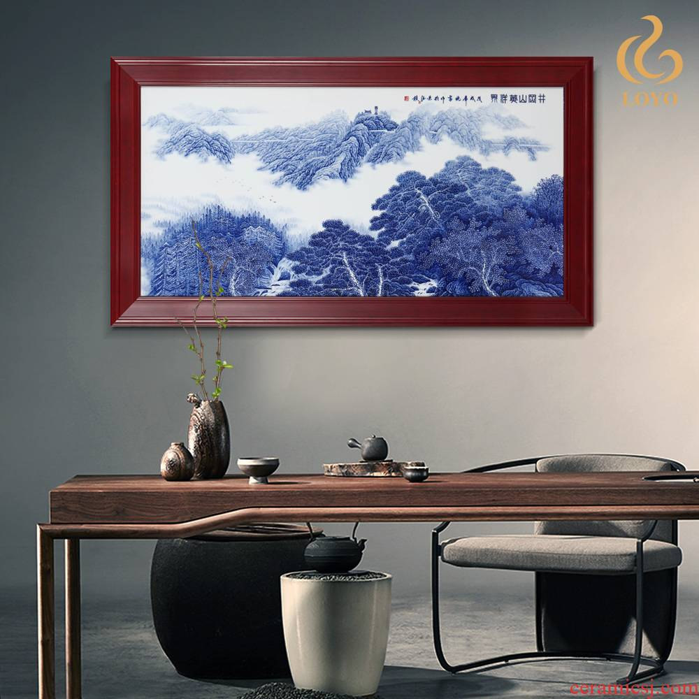 Jingdezhen ceramics porcelain plate painting landscape decoration of Chinese style household sofa setting wall mural that hang a picture
