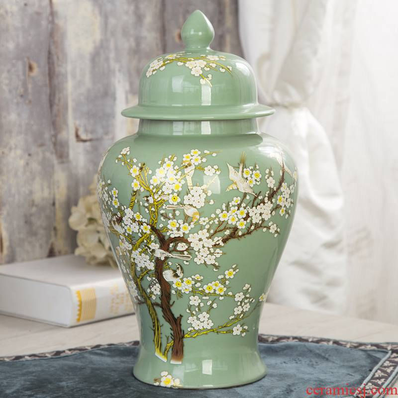 Jingdezhen ceramics general pot of large storage tank with cover Chinese style household soft adornment furnishing articles sitting room