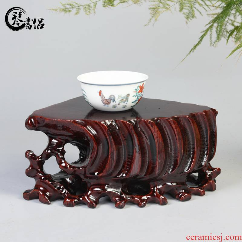 Pianology picking fan stone base solid wooden furnishing articles base wooden wooden household decorative stone base