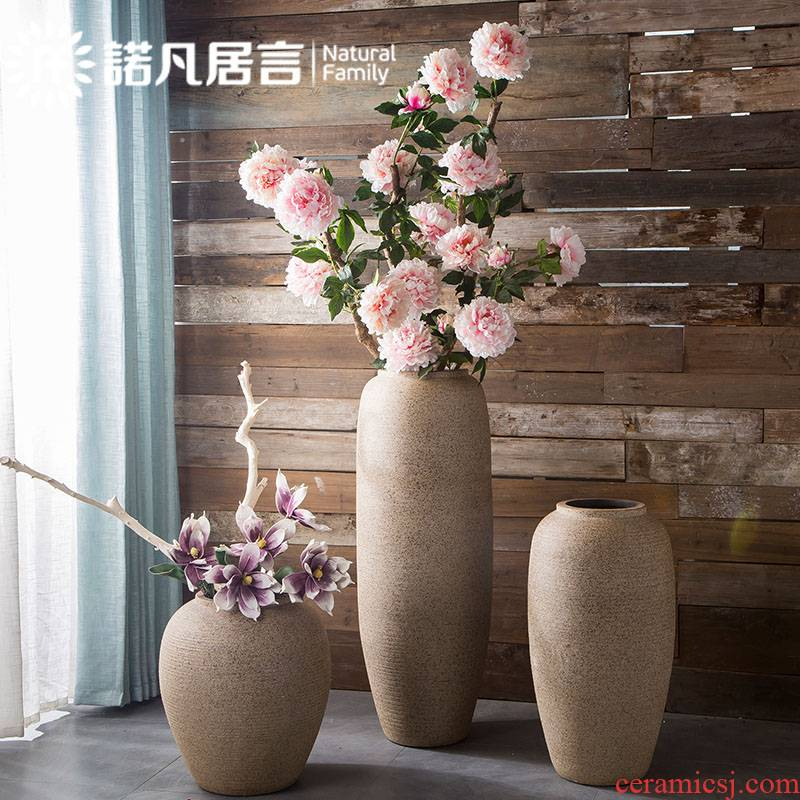 Large coarse pottery vases, ceramic hotel villa clubhouse sitting room ground flower arranging furnishing articles contracted fashion decoration decoration
