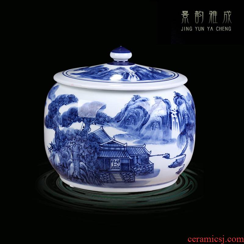 Jingdezhen ceramic hand - made with cover of blue and white porcelain decoration storage tank Chinese ceramic pot to receive furnishing articles large