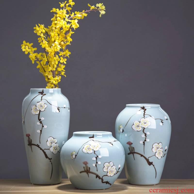 Jingdezhen ceramic dry flower vases, creative new Chinese style living room TV cabinet flower arranging household porcelain ornaments furnishing articles