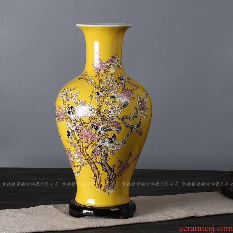 Jingdezhen ceramics yellow glaze pay-per-tweet mui design home furnishing articles adornment vases, flower vases