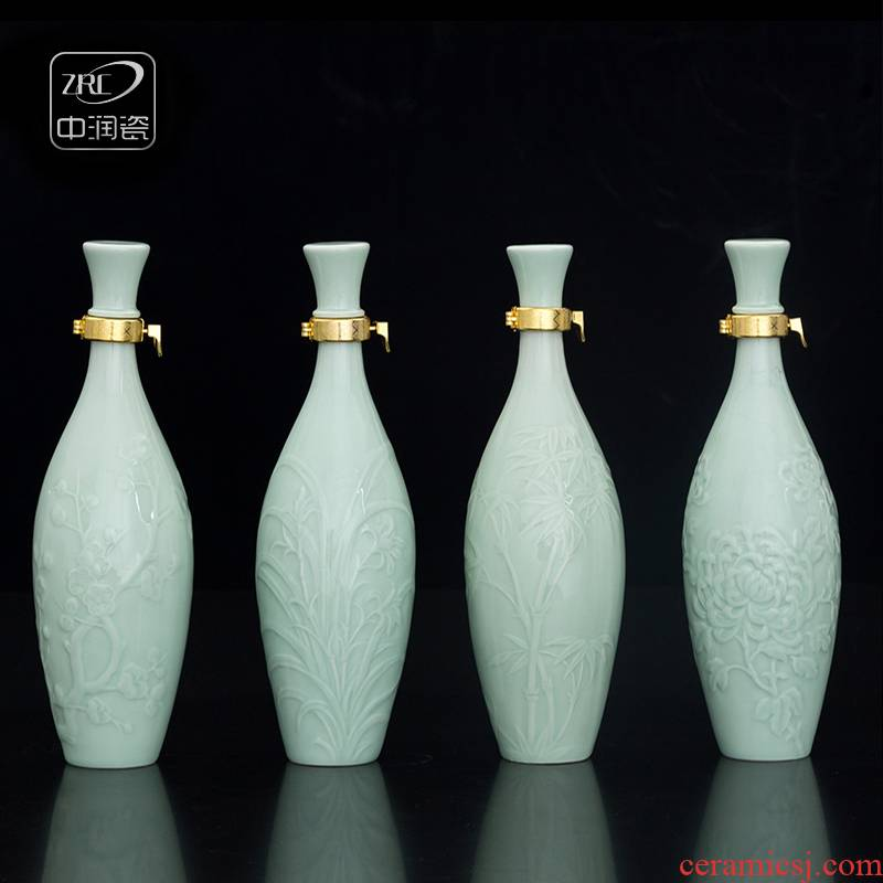The jingdezhen ceramic jars in a jin to household archaize hip shadow blue seal carving custom gift bottle package mail