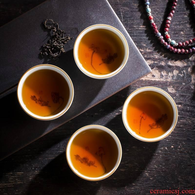Jingdezhen ceramic sample tea cup tea hand - made harmony is the masters cup ji blue manual kung fu tea cups
