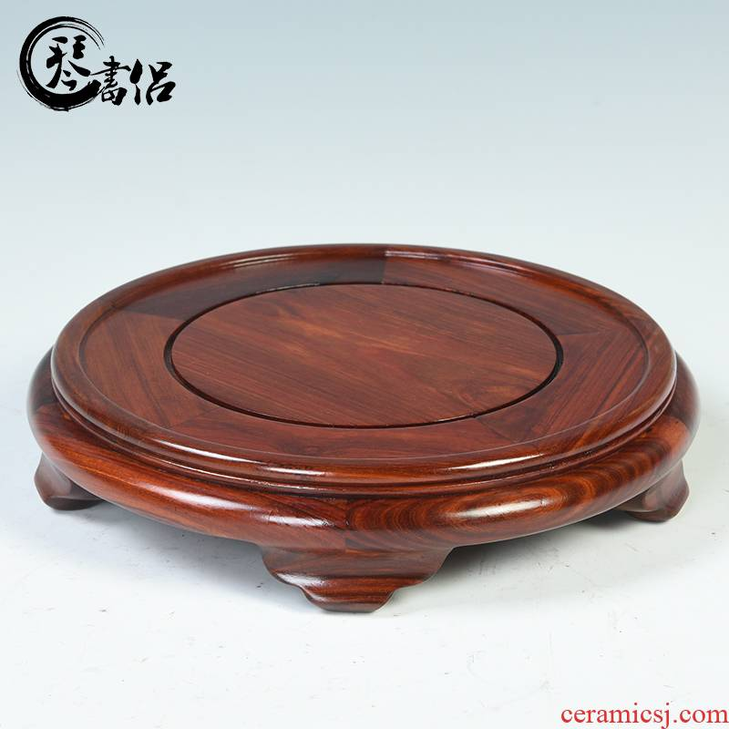 Red wingceltis woodcarving element circular base annatto vase base solid wooden Buddha flowers bonsai stone base of furnishing articles
