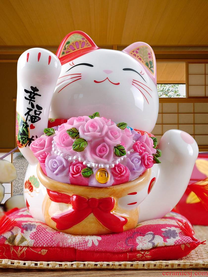 Stone workshop plutus cat ceramic piggy bank happiness achievement piggy bank new marriage room adornment is placed a wedding gift
