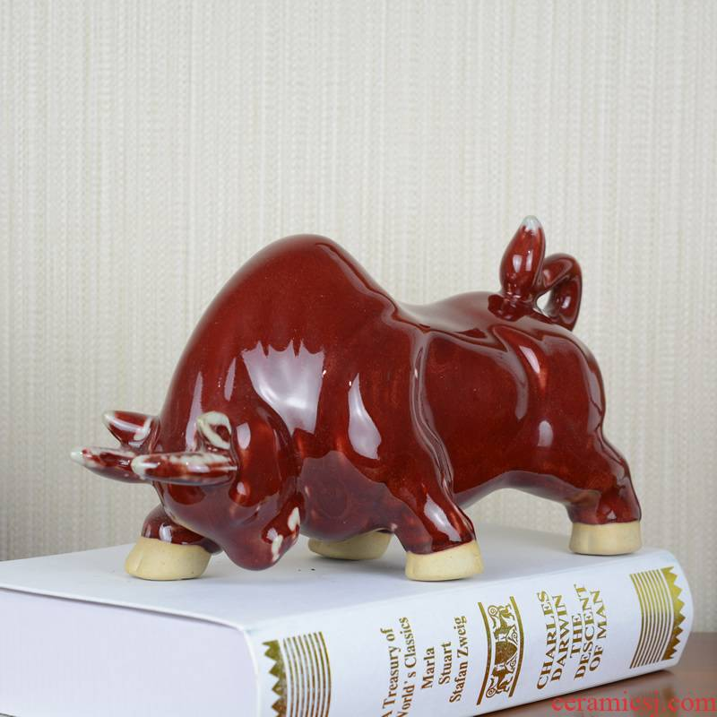 Jingdezhen ceramic ox furnishing articles home office TV ark, creative arts and crafts opening gifts decorations