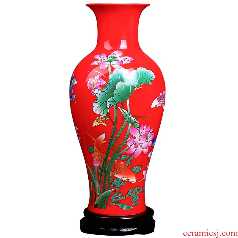 Jingdezhen ceramic Chinese red red hydroponic vases, flower arrangement home sitting room place dry flower decoration porcelain