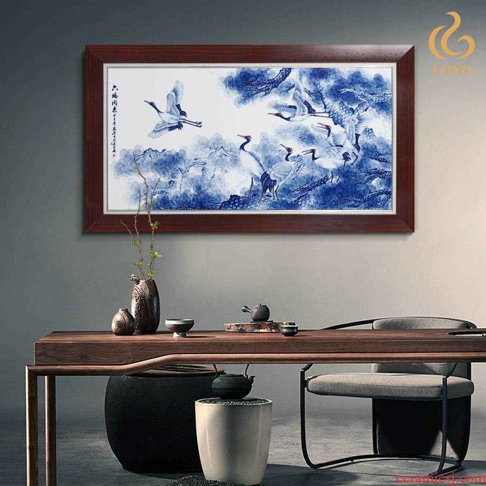The Spring of jingdezhen ceramics porcelain plate painting six cranes with Chinese style household decoration bedroom setting wall decoration
