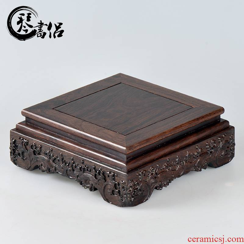 Redwood base solid wood rectangle jade stone furnishing articles planter base square for FoTai Buddha base