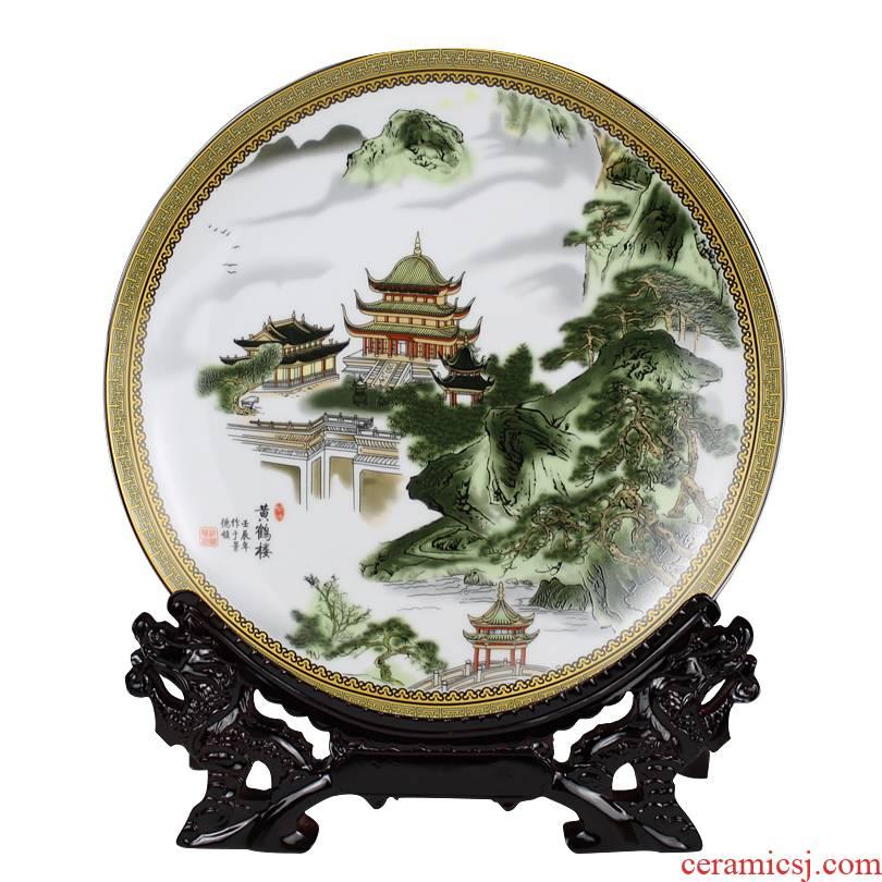 Jingdezhen ceramics landscape painting decorative plate faceplate hang dish modern home furnishing articles