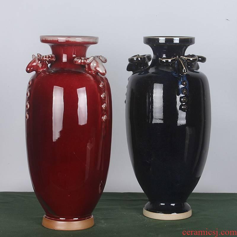 Archaize ceramic vase jun porcelain three Yang kaitai household adornment I sitting room adornment porcelain furnishing articles