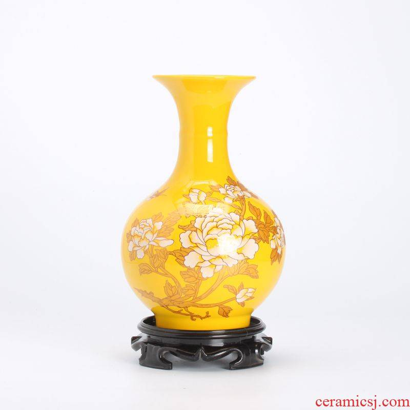 Ceramic floret bottle home sitting room Chinese red peony flower arranging, soft adornment style is contracted modern furnishing articles