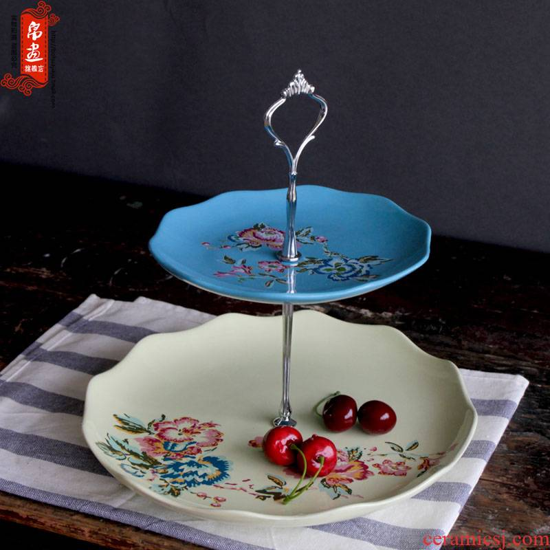 European pastoral jingdezhen ceramics two the layers of fruit cake snacks confectionery plate of the sitting room tea table furnishing articles